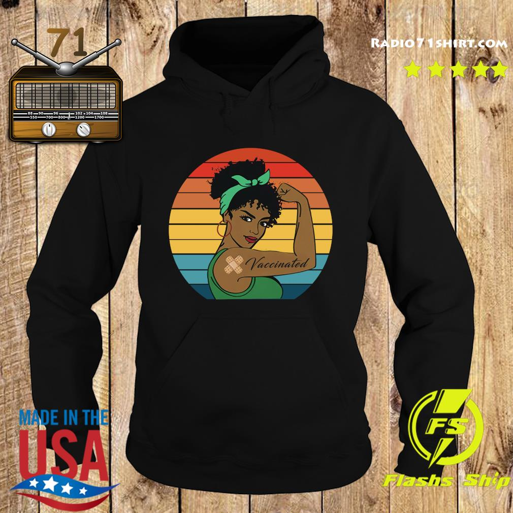 Black Strong Girl With Vaccinated Vintage Retro Shirt Hoodie
