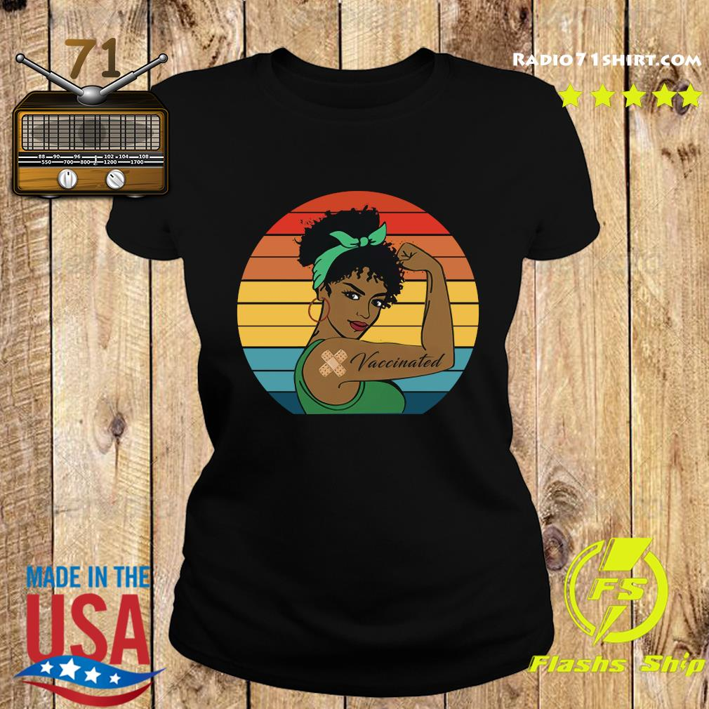 Black Strong Girl With Vaccinated Vintage Retro Shirt Ladies tee