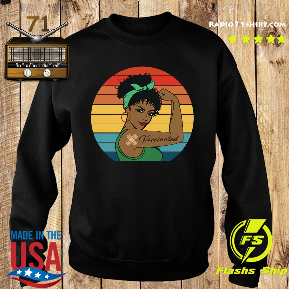 Black Strong Girl With Vaccinated Vintage Retro Shirt Sweater