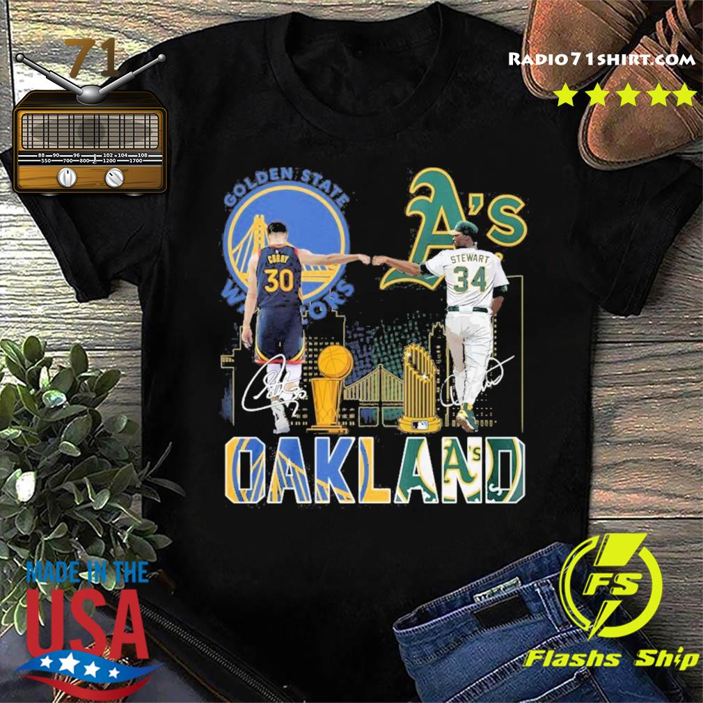 Curry Golden State Warriors and Stewart Oakland Athletics Oakland signatures shirt