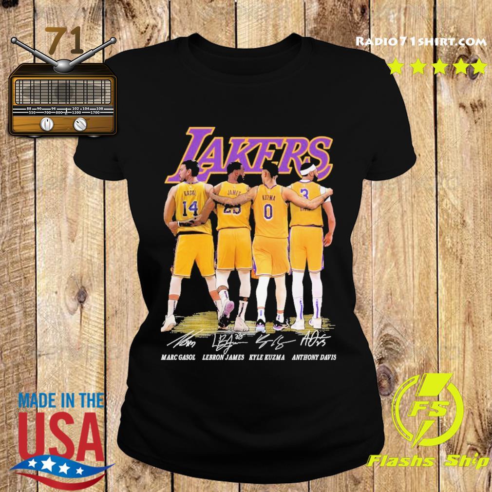 Gasol and James and Kuzma and Davis Lakers signatures 2021 s Ladies tee