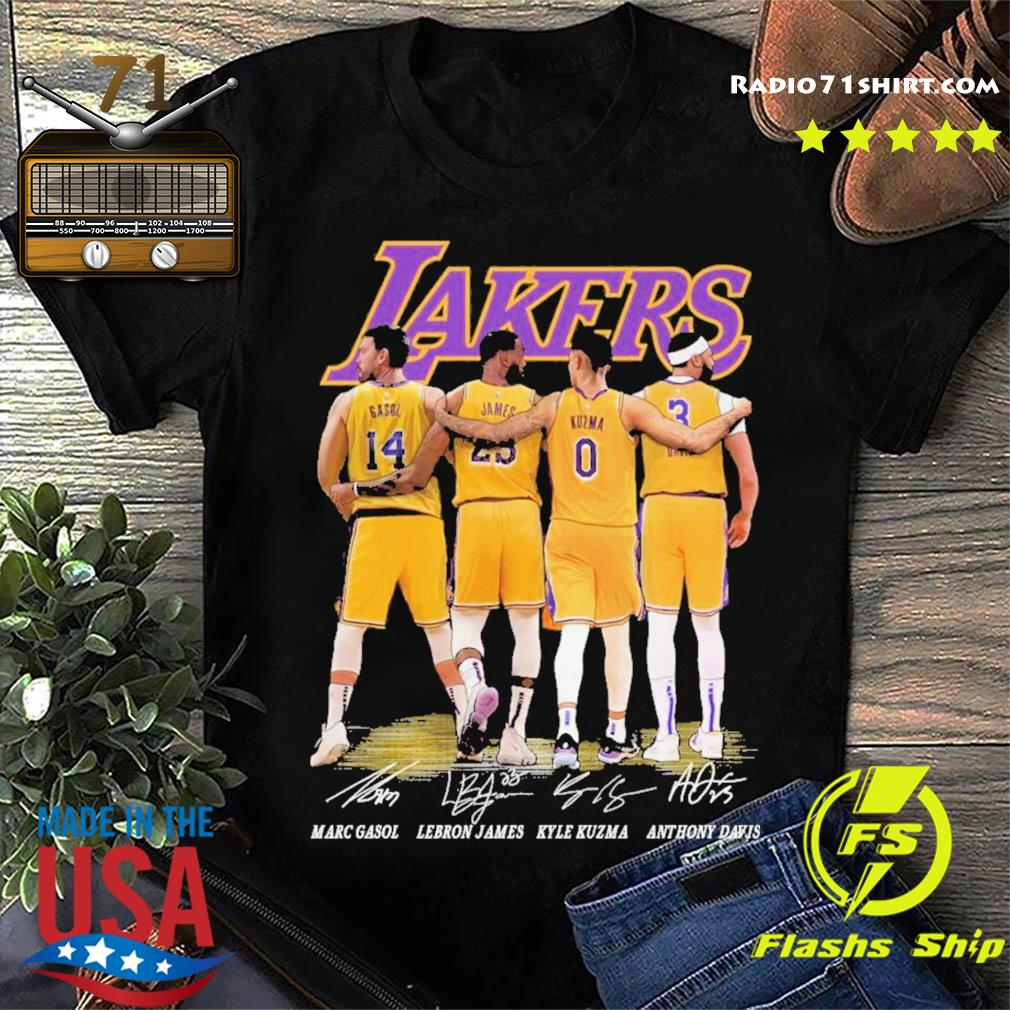 Gasol and James and Kuzma and Davis Lakers signatures 2021 shirt