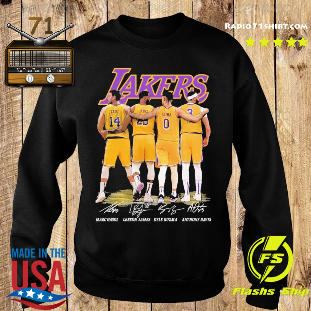 Gasol and James and Kuzma and Davis Lakers signatures 2021 s Sweater