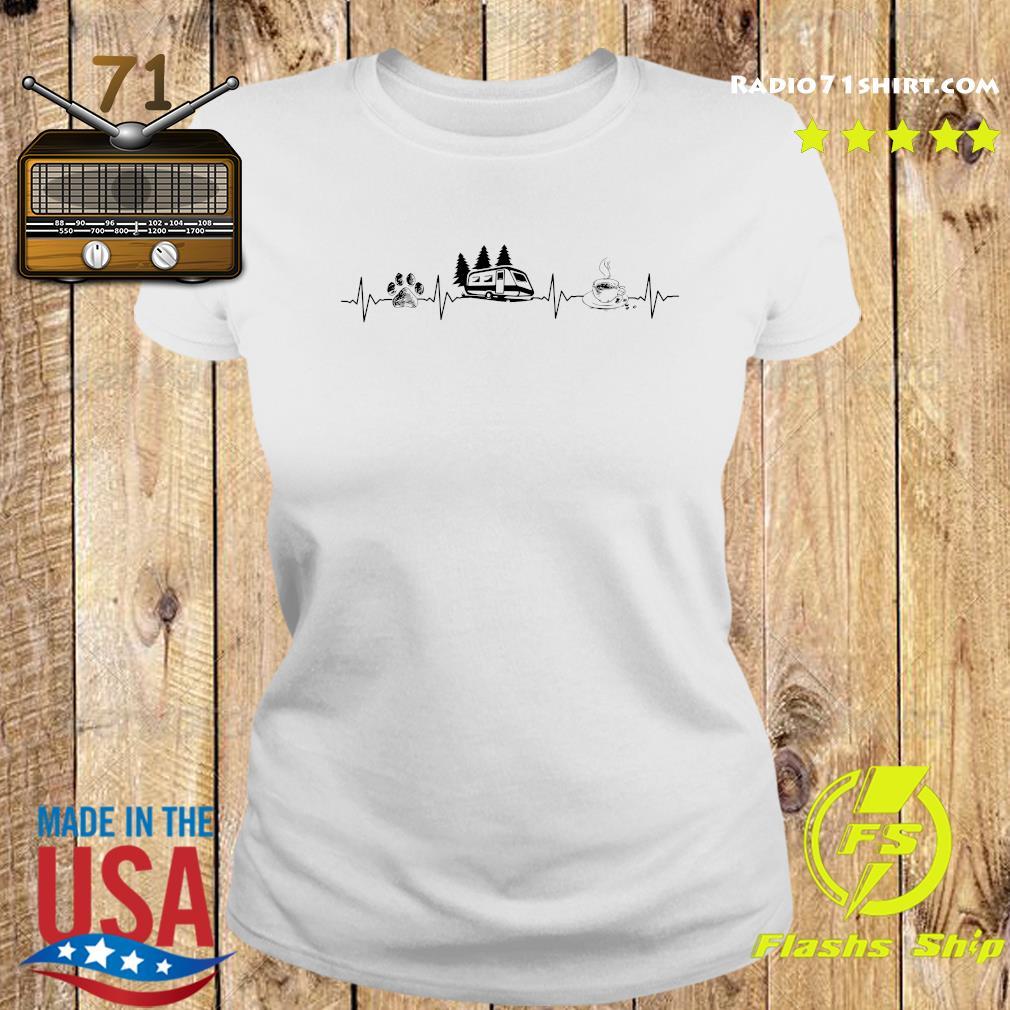 Heartbeat Dog Camping And Coffee Shirt Ladies tee
