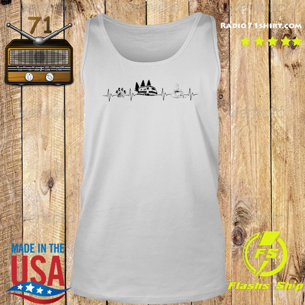 Heartbeat Dog Camping And Coffee Shirt Tank top