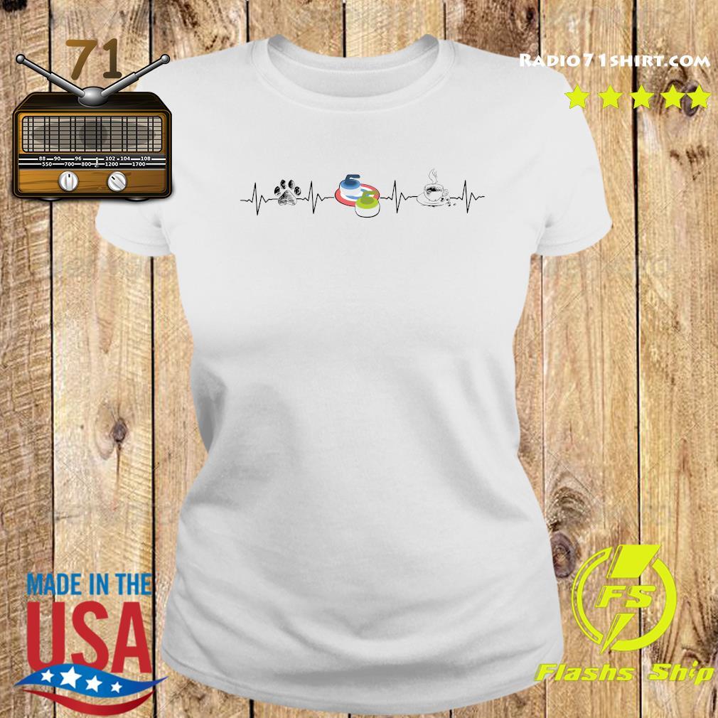 Heartbeat Dog Curling And Coffee Shirt Ladies tee