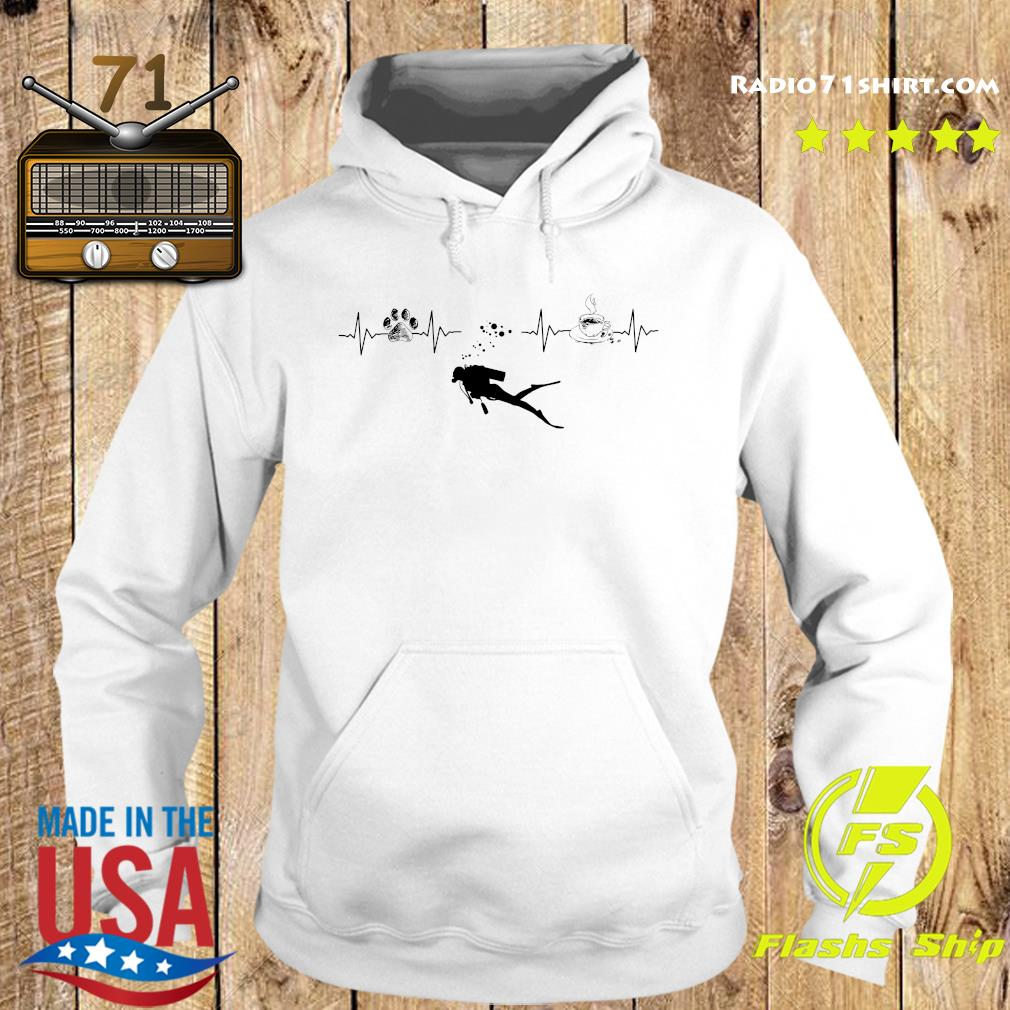 Heartbeat Dog Diving Silhouette And Coffee Shirt Hoodie