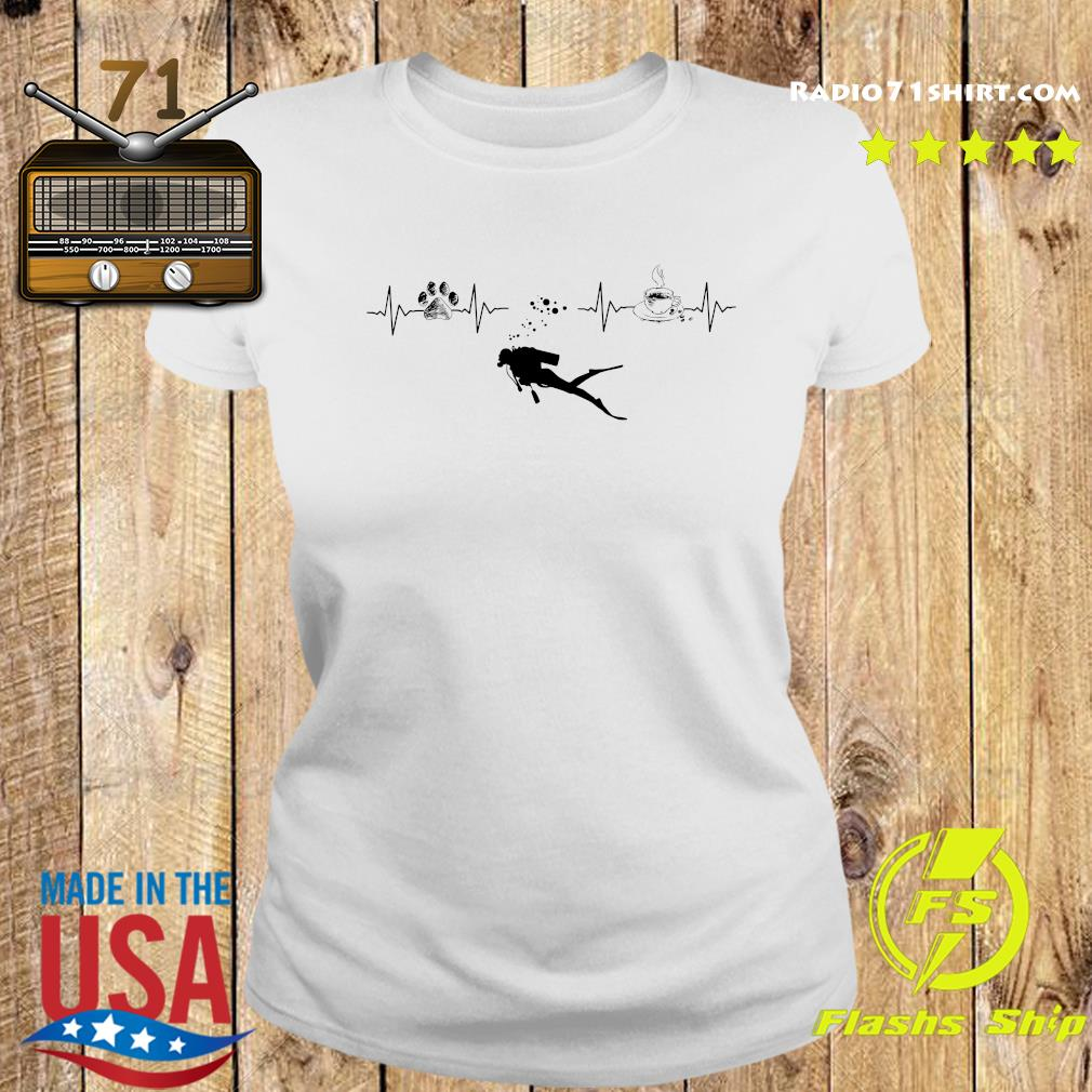 Heartbeat Dog Diving Silhouette And Coffee Shirt Ladies tee