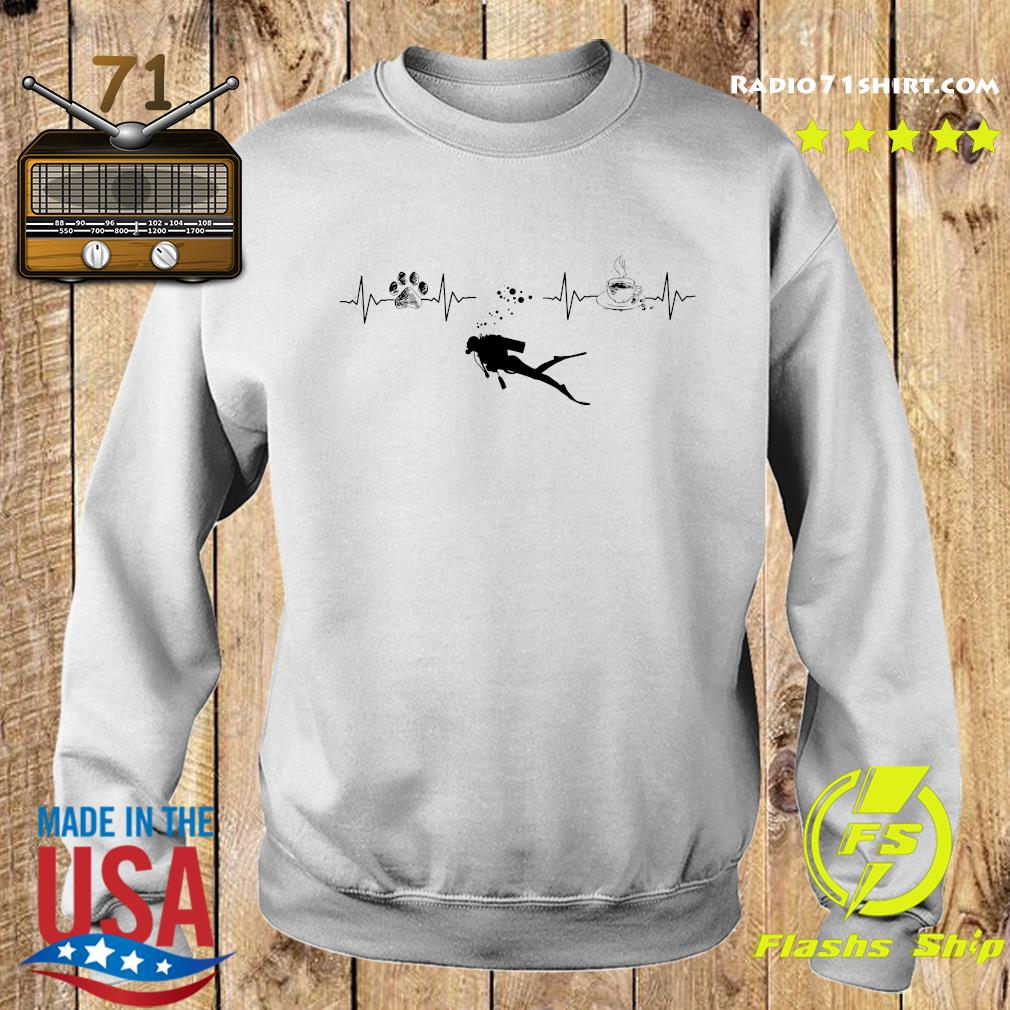 Heartbeat Dog Diving Silhouette And Coffee Shirt Sweater