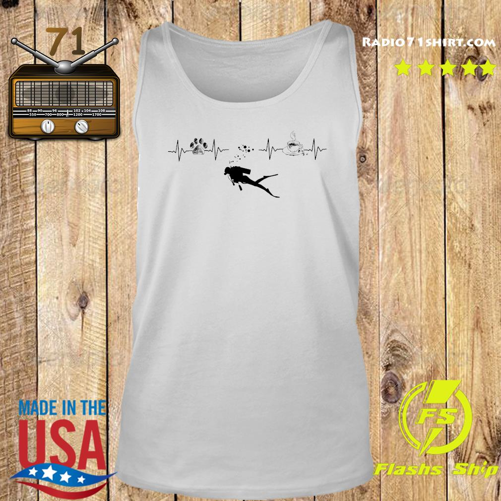Heartbeat Dog Diving Silhouette And Coffee Shirt Tank top