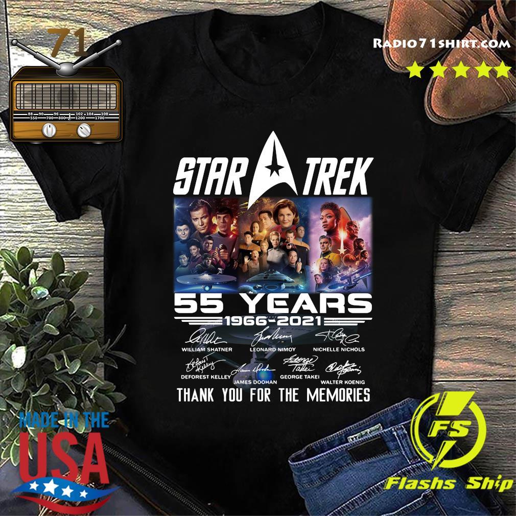 Marvel Star Trek Movie 55 Years 1966 2021 Signatures Thanks For The Memories Shirt