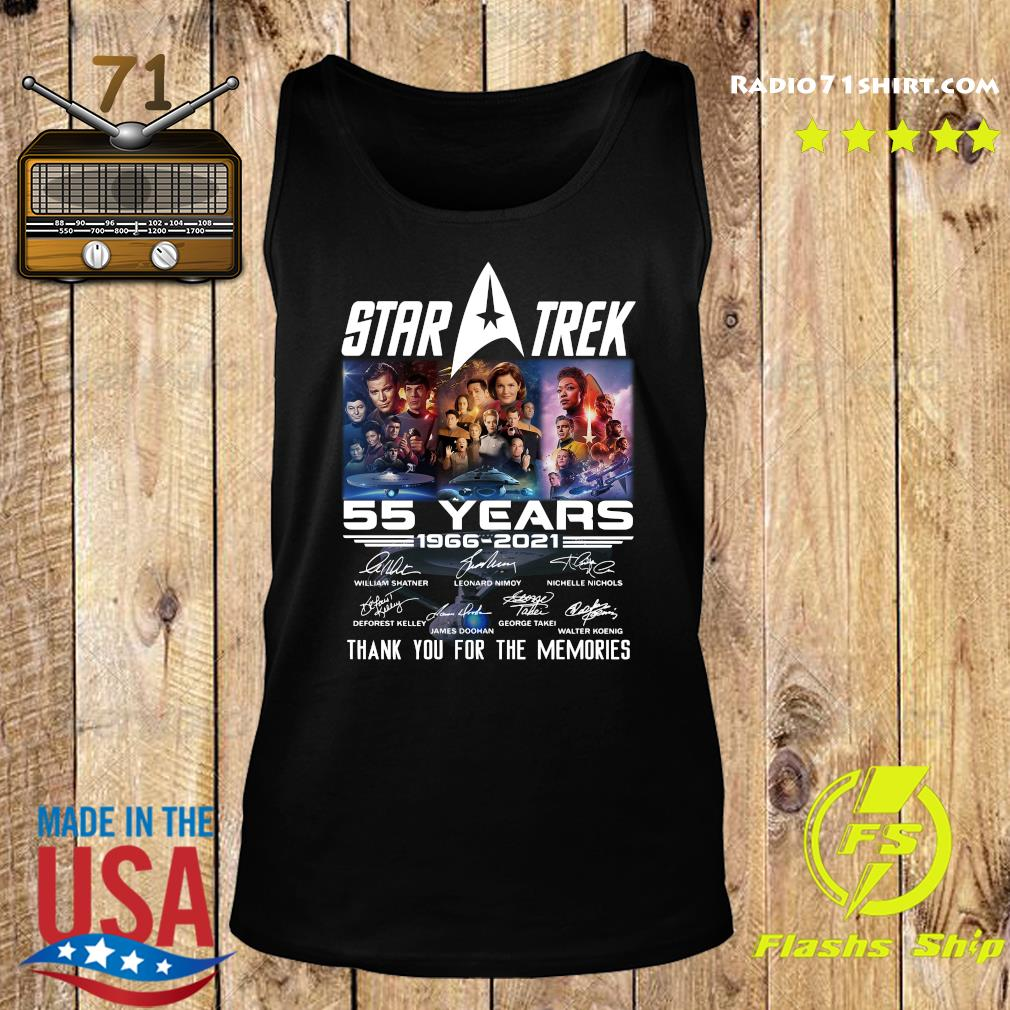 Marvel Star Trek Movie 55 Years 1966 2021 Signatures Thanks For The Memories Shirt Tank top
