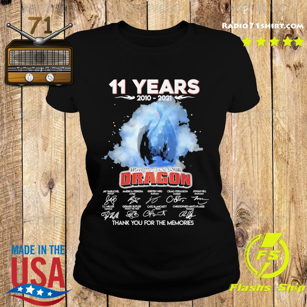 Official 11 Years 2010 2021 How To train your Dragon signature thank you for the memories s Ladies tee