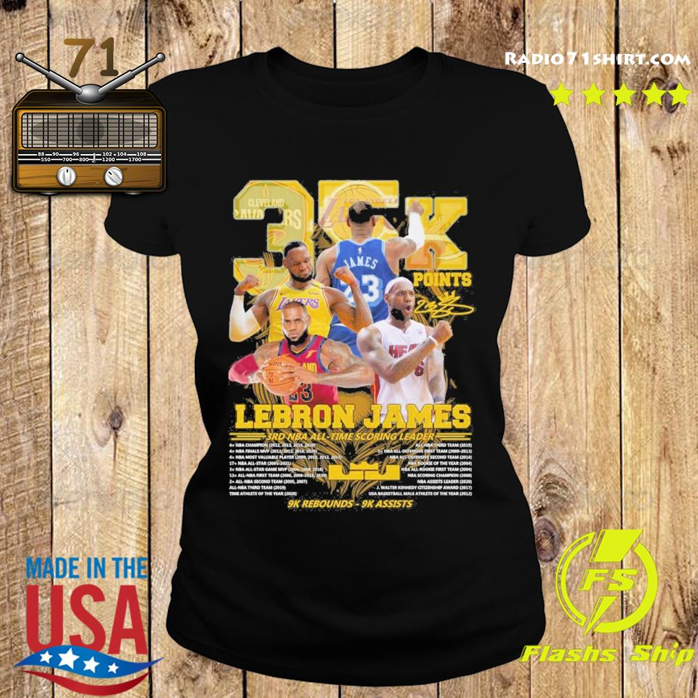 Official 35k Lebron James 3rd NBA time scoring leader 9k Rebounds 9k assists s Ladies tee