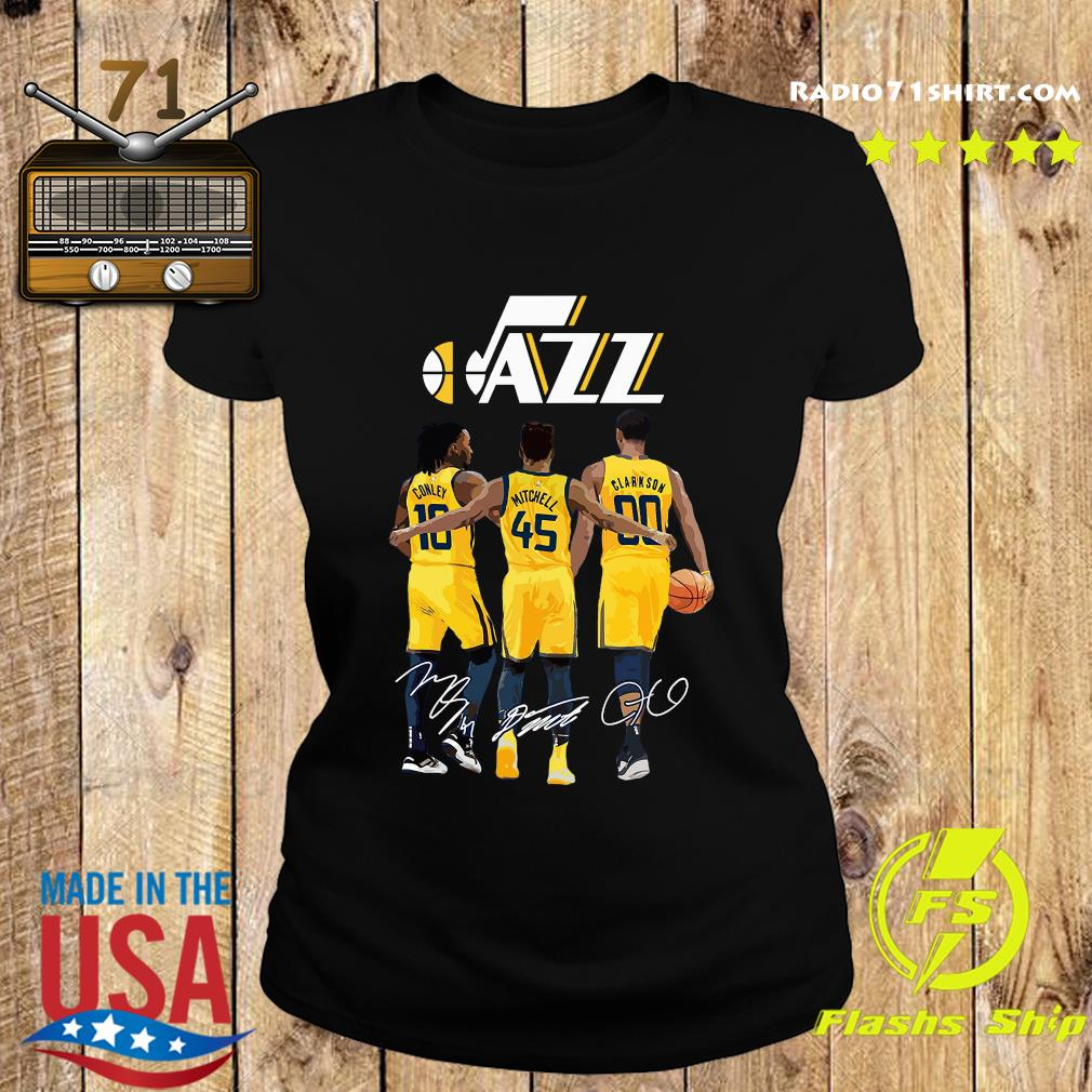 Official Jazz 10 Conley 45 Mitchell 00 Clarkson Siganatures Shirt Ladies tee