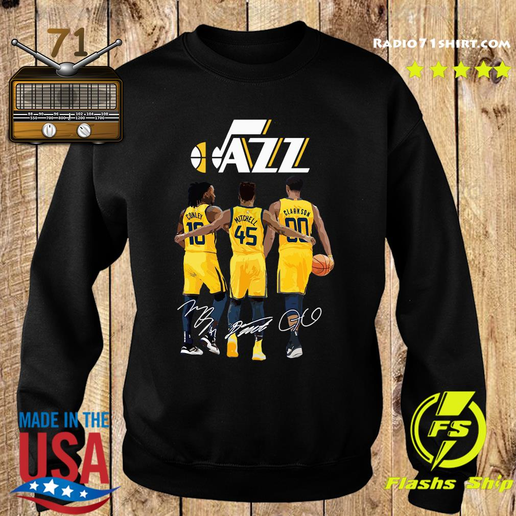 Official Jazz 10 Conley 45 Mitchell 00 Clarkson Siganatures Shirt Sweater
