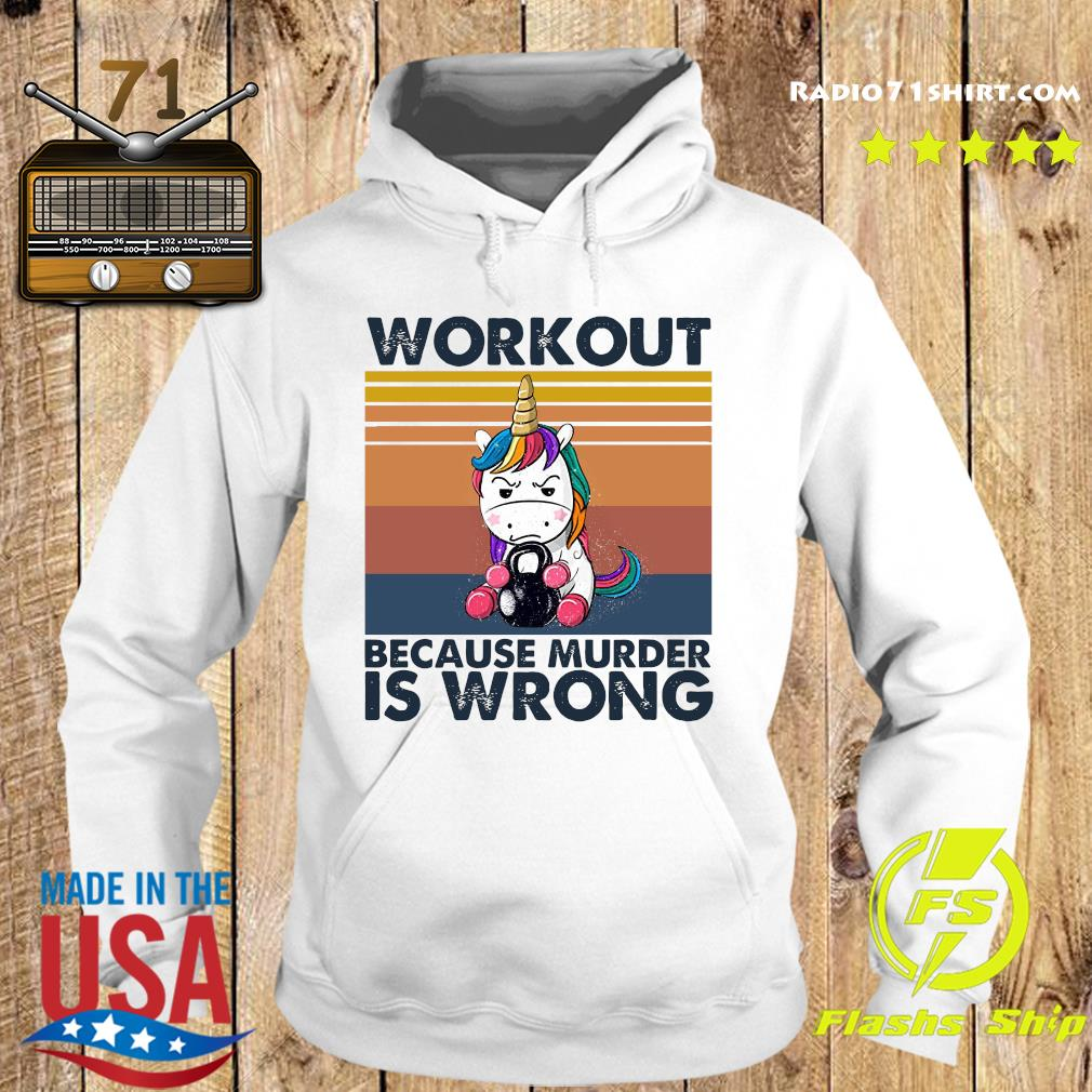 Official The Unicorn Workout Because Murder Is Wrong Vintage Shirt Hoodie