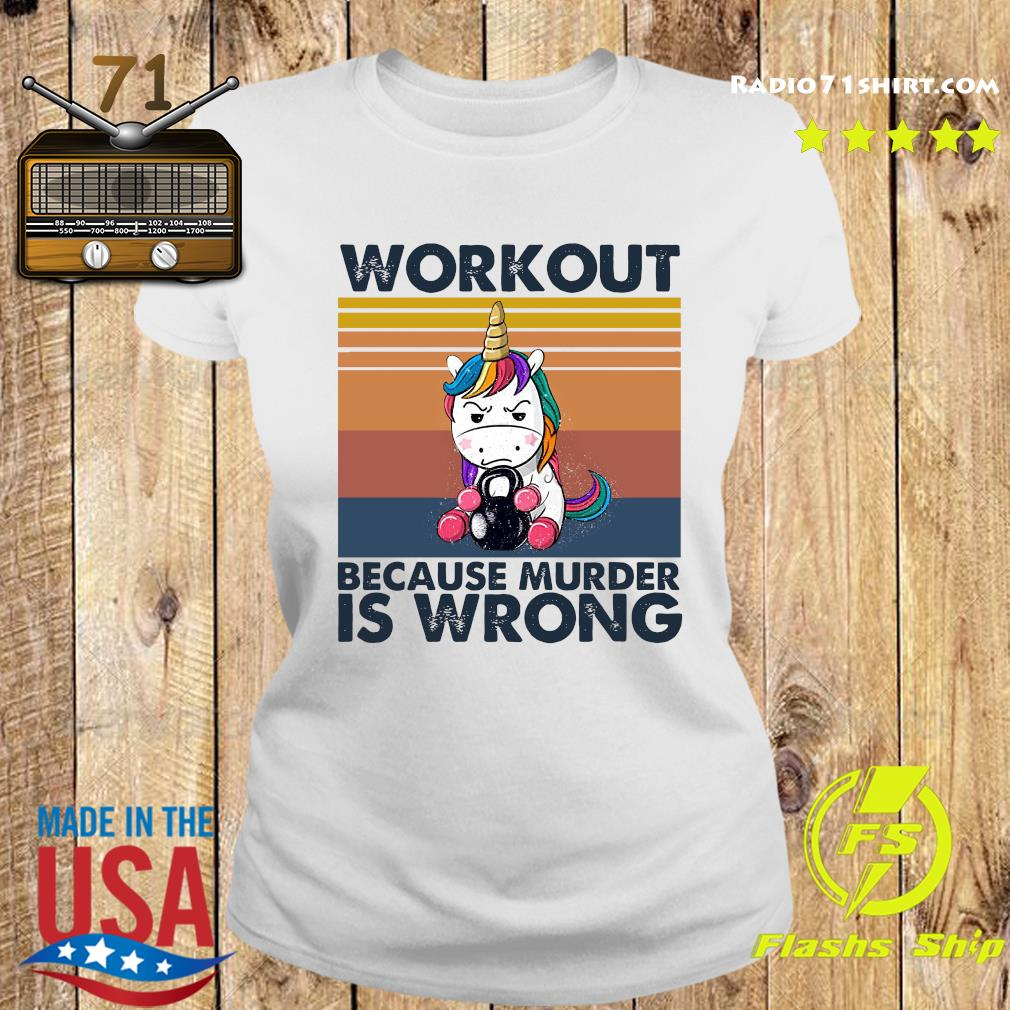 Official The Unicorn Workout Because Murder Is Wrong Vintage Shirt Ladies tee