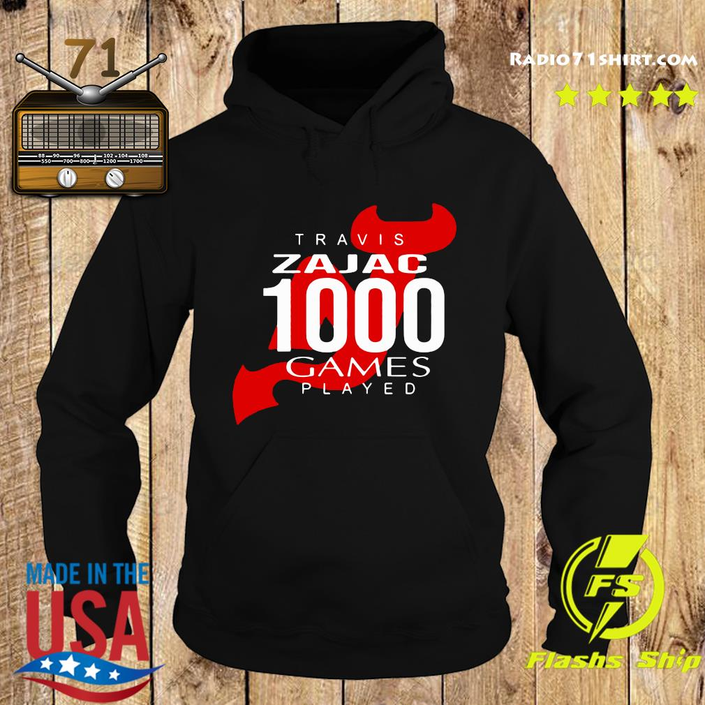 Official Travis Zajac 1000 Game Played Shirt Hoodie