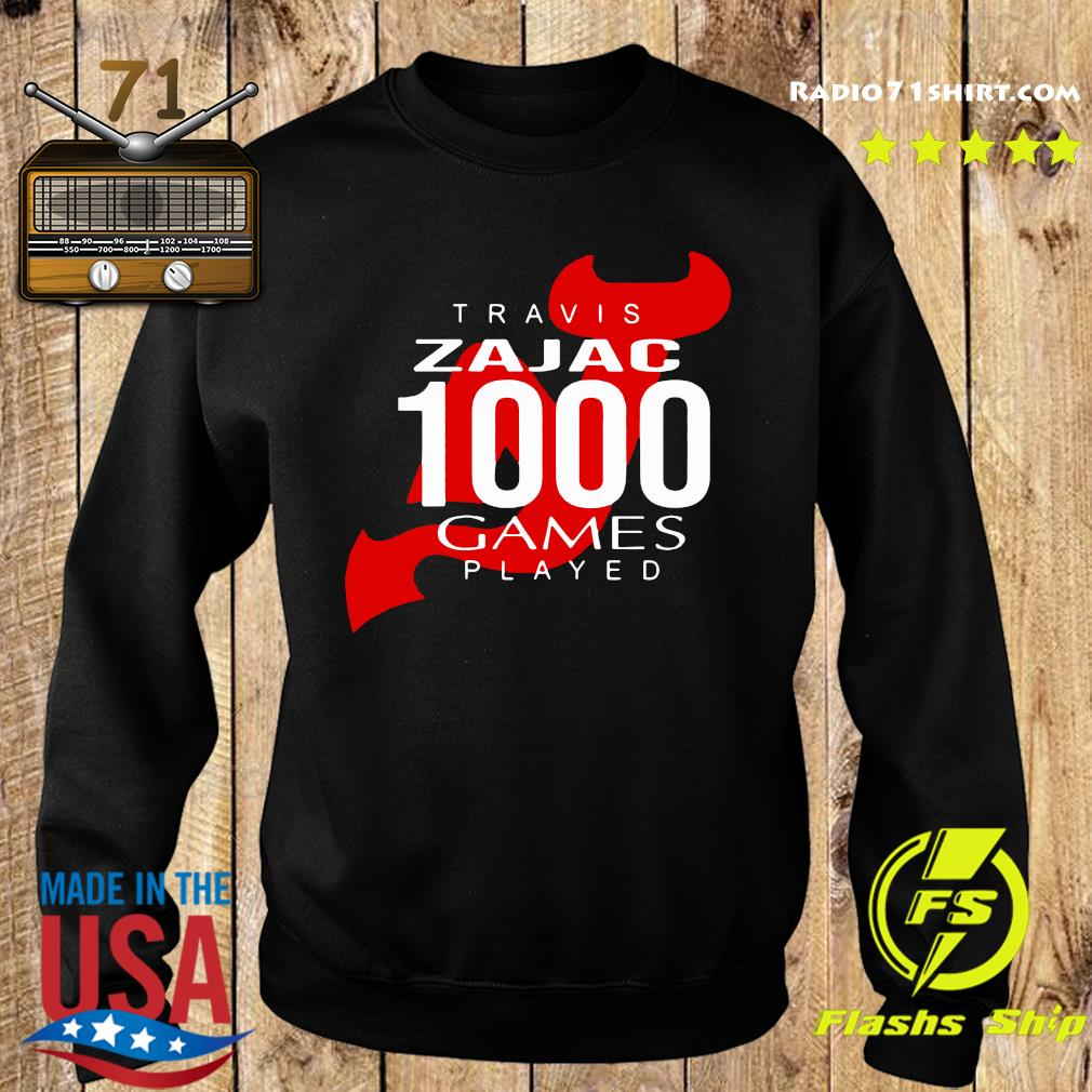 Official Travis Zajac 1000 Game Played Shirt Sweater