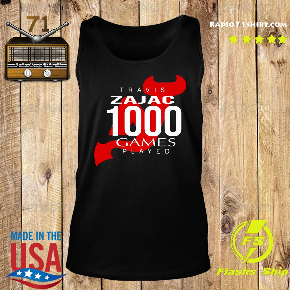 Official Travis Zajac 1000 Game Played Shirt Tank top