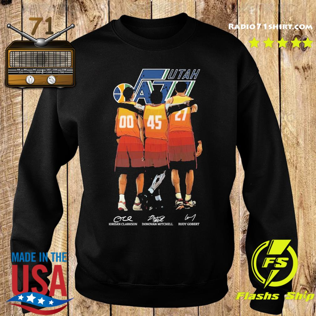 Utah Jazz Clarkson and Mitchell and Gobert signatures s Sweater