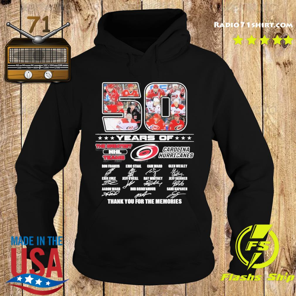 50 Years Of The Greatest Nhl Teams Carolina Hurricanes Signatures Thank You For The Memories Shirt Hoodie