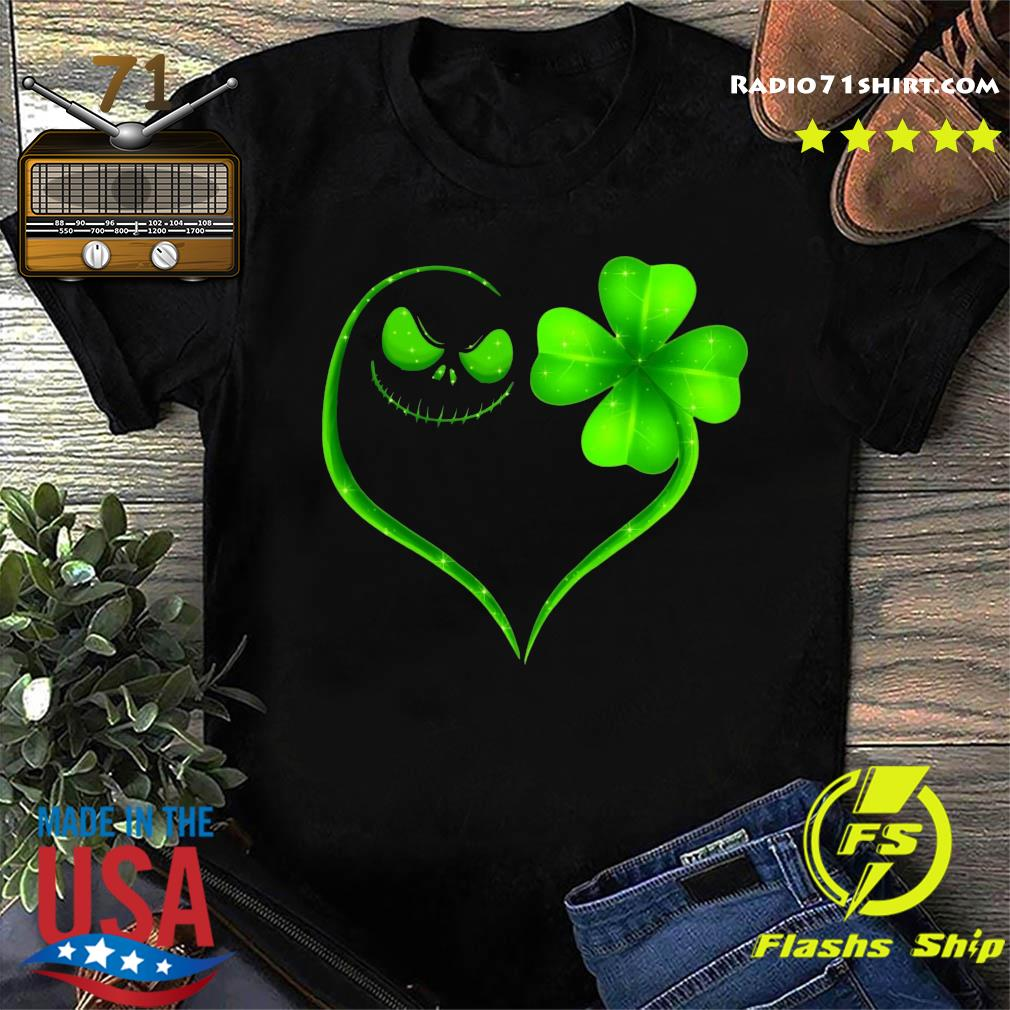 Heart Shamrock And Jack Skeleton Happy St Patrick's Day Shirt