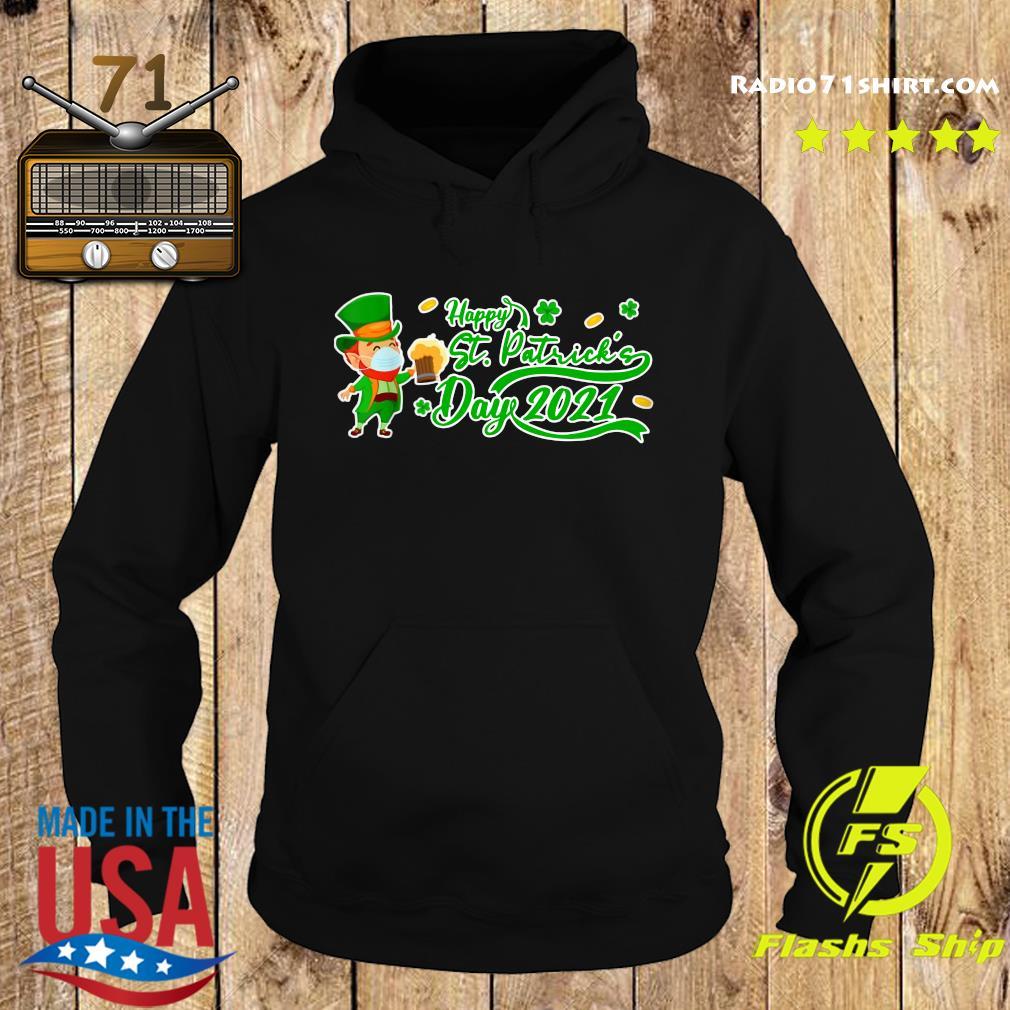 Irish Man Face Mask Drink Beer Happy St Patrick's Day 2021 Shirt Hoodie