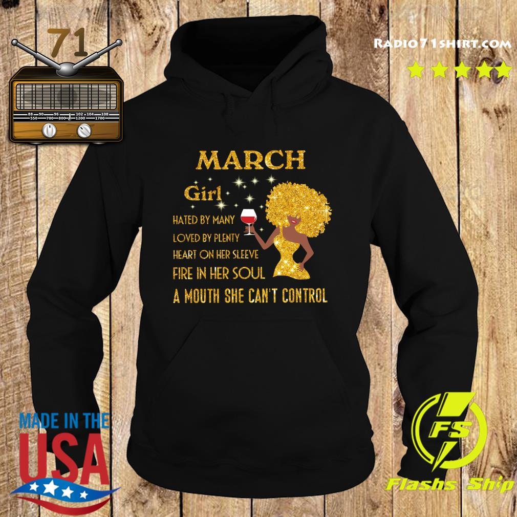 March Girl Hated By Many Loved By Plenty Heart On Her Sleeve Diamonds Shirt Hoodie