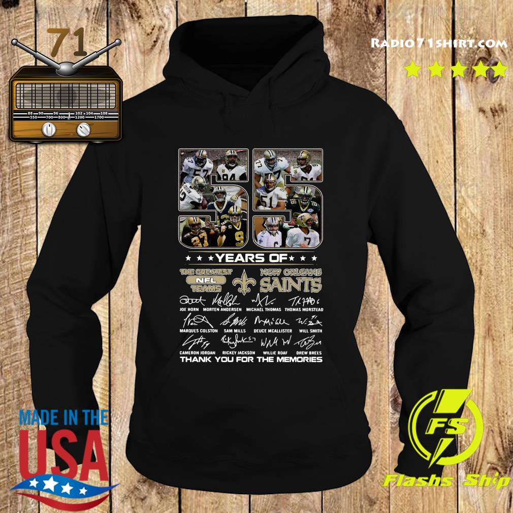 Official 55 Years Of The Greatest Nfl Teams New Orleans Saints Signatures Thanks For The Memories Shirt Hoodie