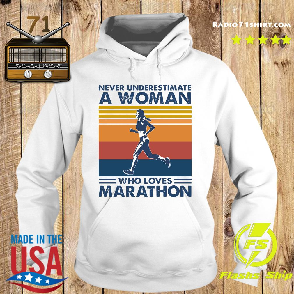 Official Never Underestimate A Woman Who Loves Marathon Vintage Shirt Hoodie