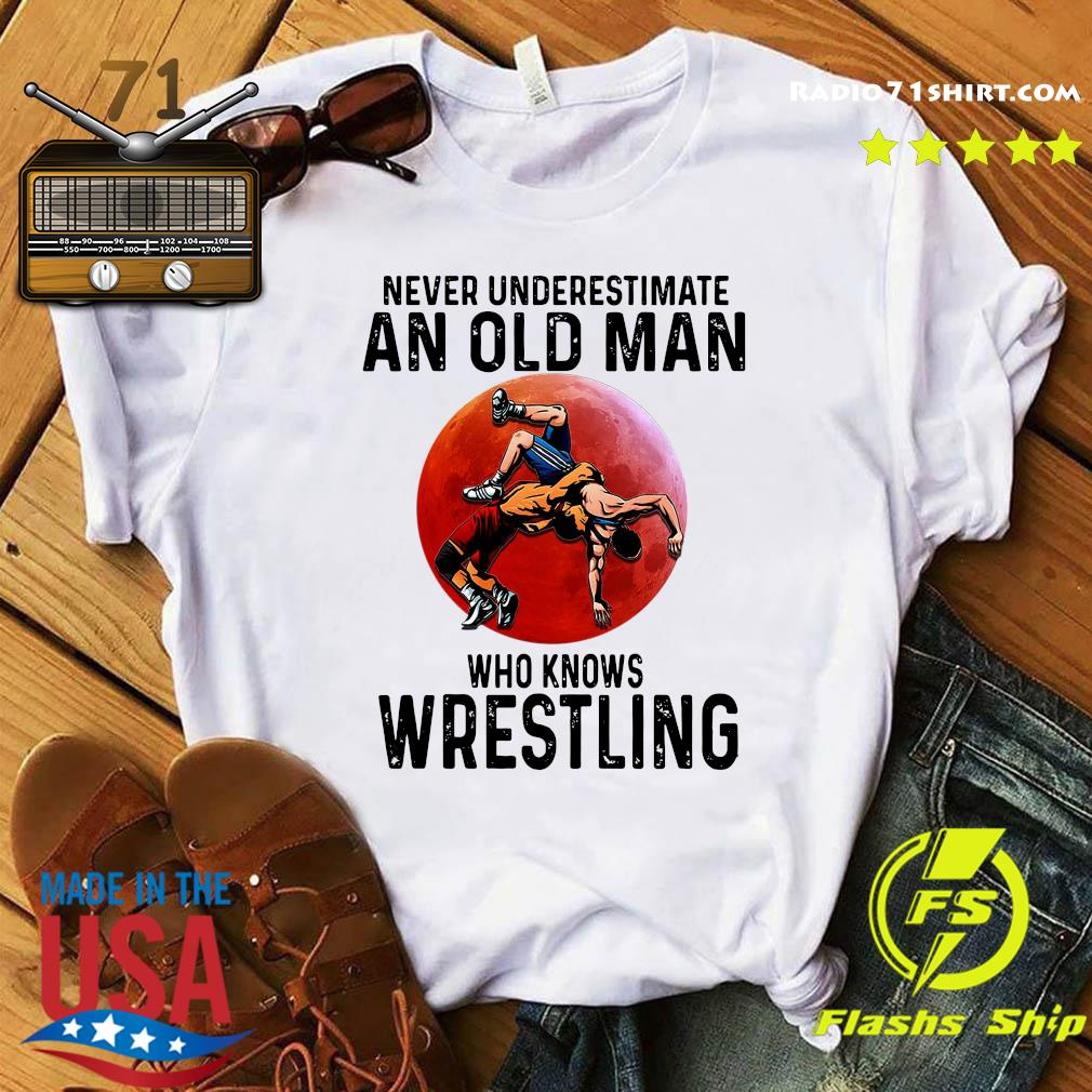 Official Never Underestimate An Old Man Who Knows Wrestling Red Moon Shirt