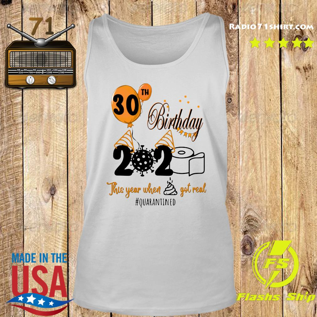 30th Birthday 2020 Toilet Paper This Year When Shit Got Real Quarantined Covid 19 Shirt Tank top