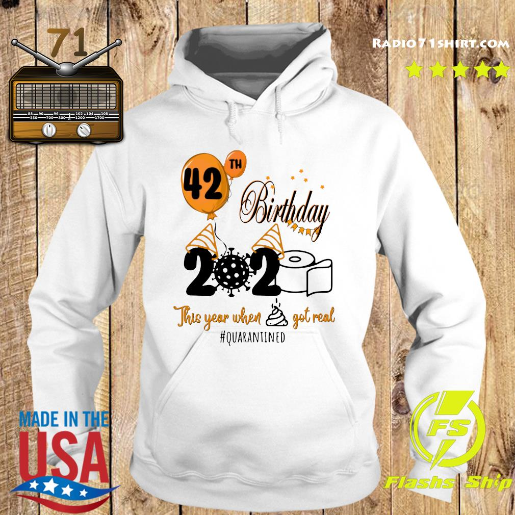 42th Birthday 2020 Toilet Paper This Year When Shit Got Real Quarantined Covid 19 Shirt Hoodie