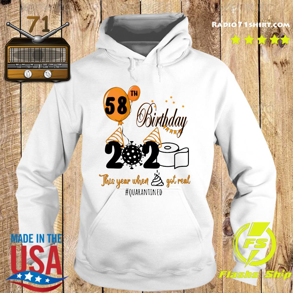 58th Birthday 2020 Toilet Paper This Year When Shit Got Real Quarantined Covid 19 Shirt Hoodie