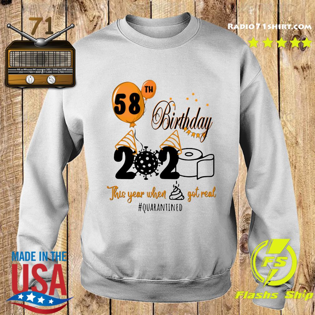 58th Birthday 2020 Toilet Paper This Year When Shit Got Real Quarantined Covid 19 Shirt Sweater