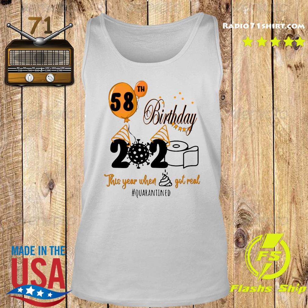 58th Birthday 2020 Toilet Paper This Year When Shit Got Real Quarantined Covid 19 Shirt Tank top
