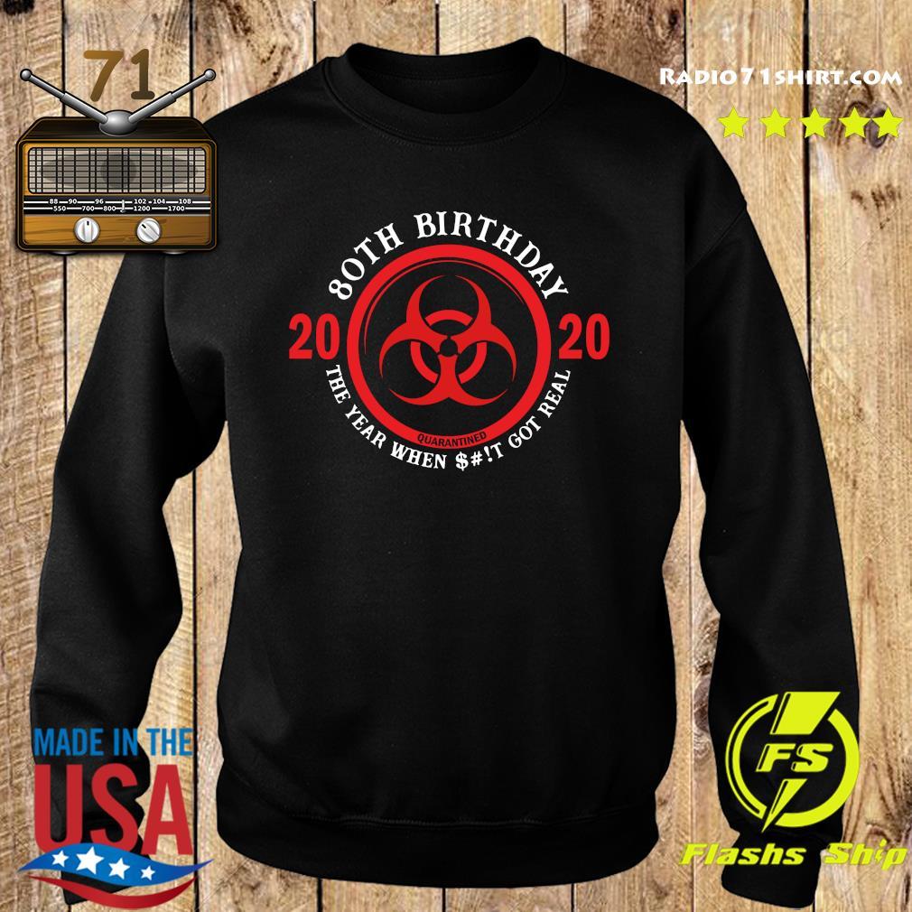 80th Birthday 2020 Quarantine The Year When Shit Got Real Quarantine Shirt Sweater