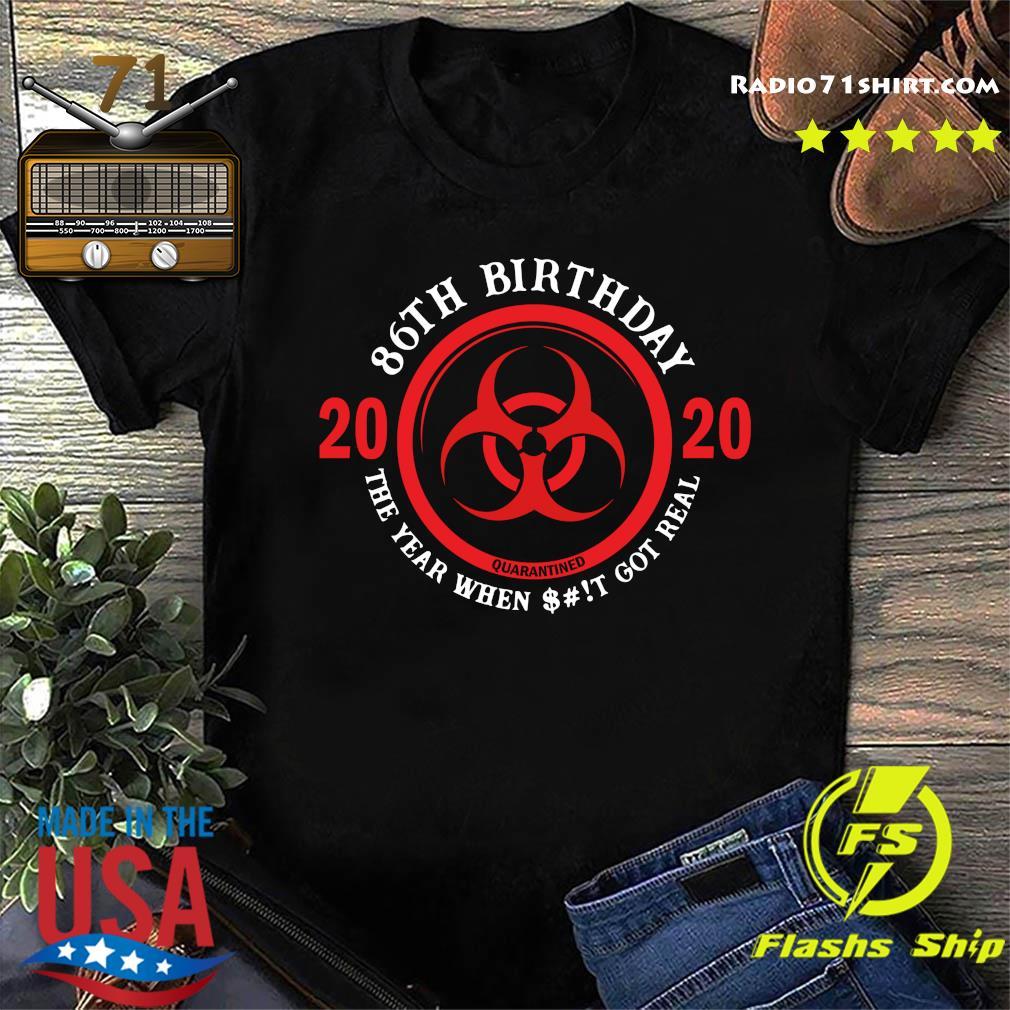 86th Birthday 2020 Quarantine The Year When Shit Got Real Quarantine Shirt