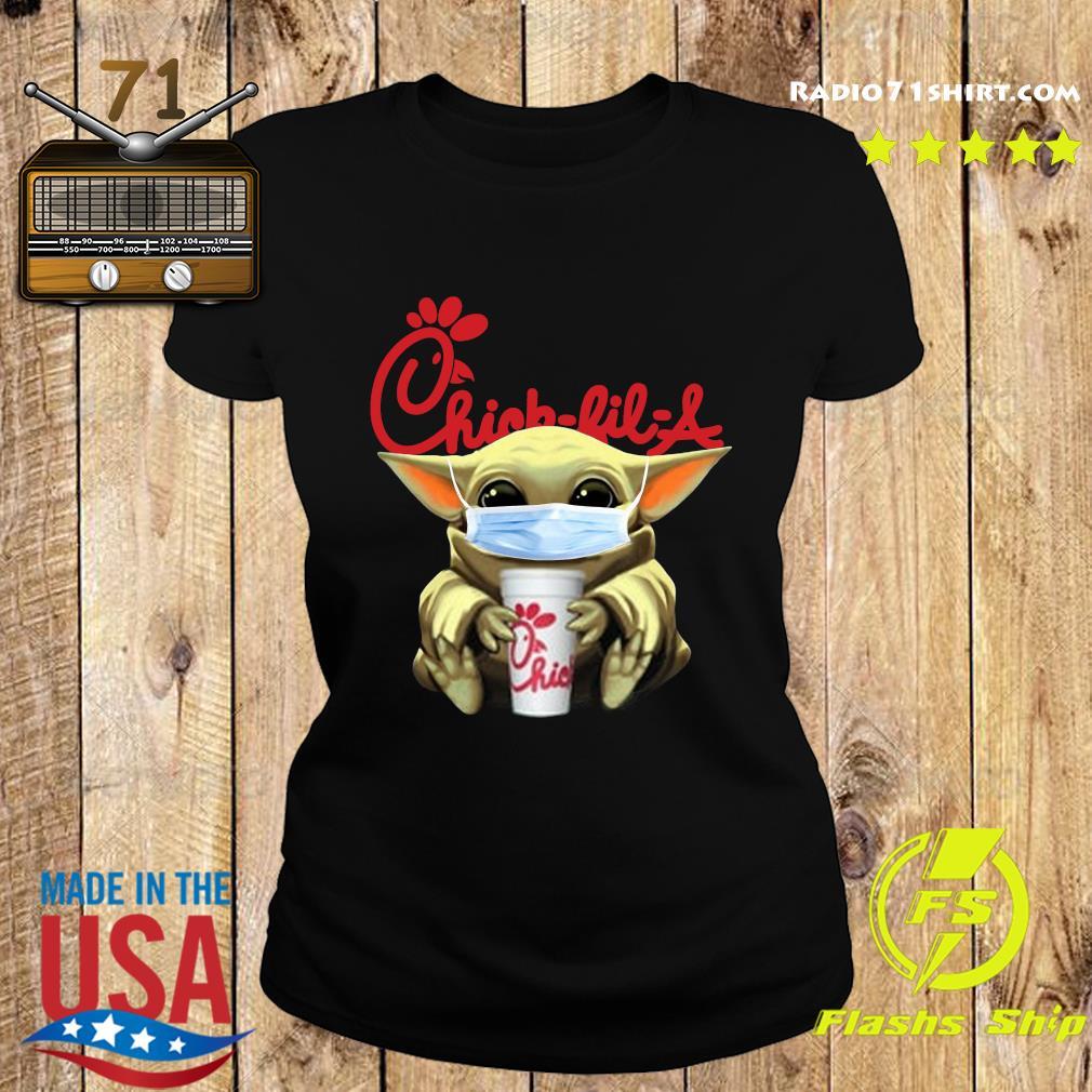 Baby Yoda Face Mask Hug Chick Fil A Shirt Ladies tee