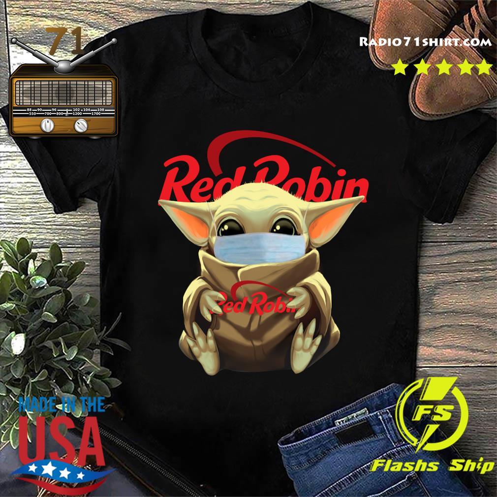 Baby Yoda Face Mask Hug Red Robin Shirt