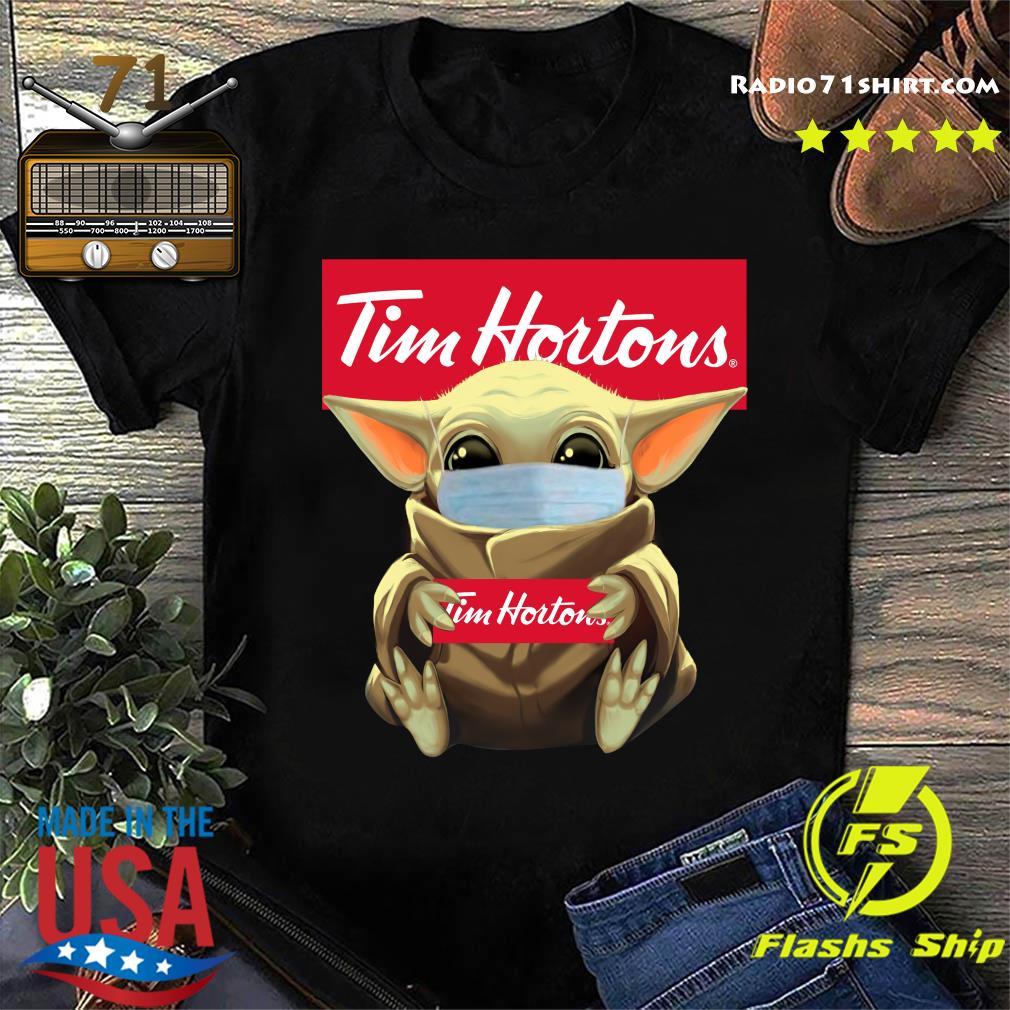 Baby Yoda Face Mask Hug Tim Hortons Shirt