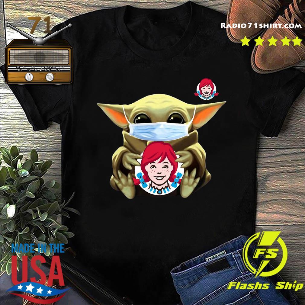 Baby Yoda Face Mask Hug Wendy's Shirt