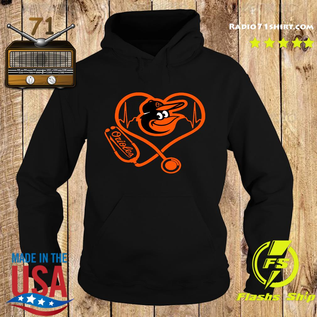 Baltimore Orioles Baseball Stethoscope Heartbeat Shirt Hoodie