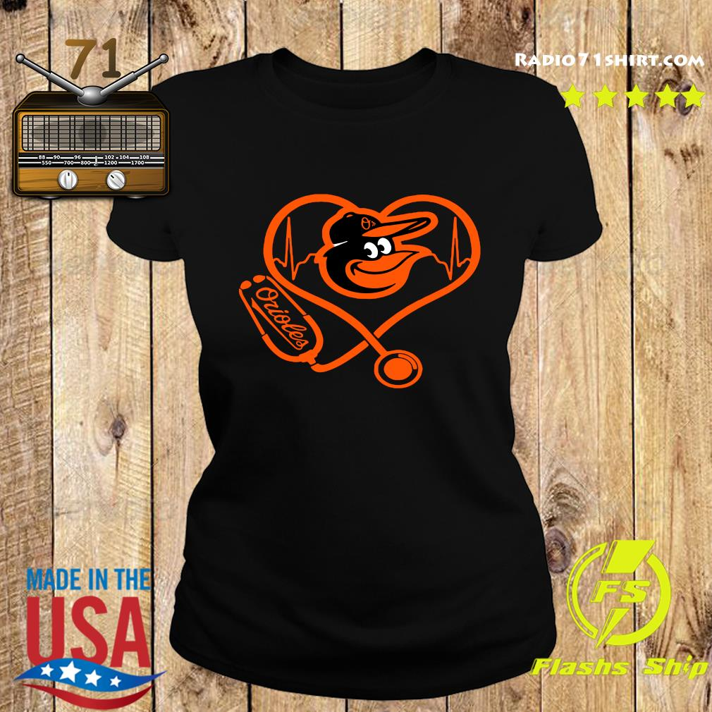 Baltimore Orioles Baseball Stethoscope Heartbeat Shirt Ladies tee