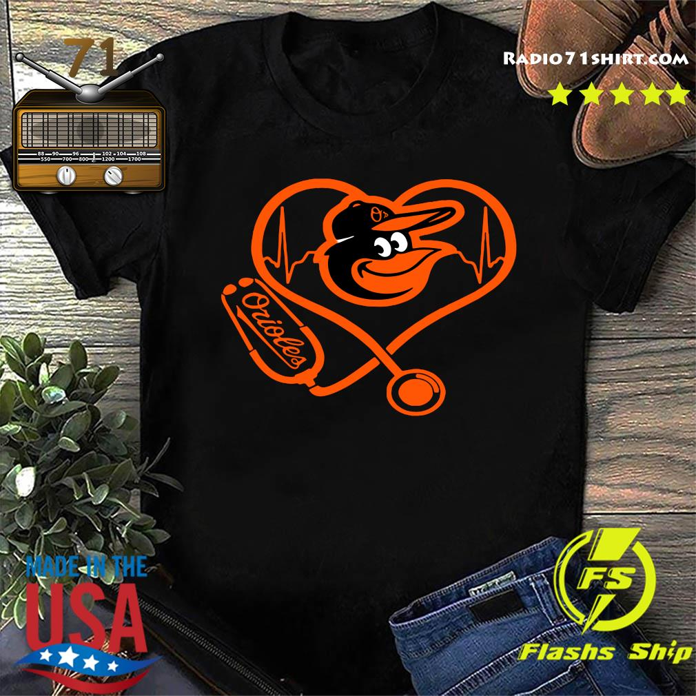 Baltimore Orioles Baseball Stethoscope Heartbeat Shirt