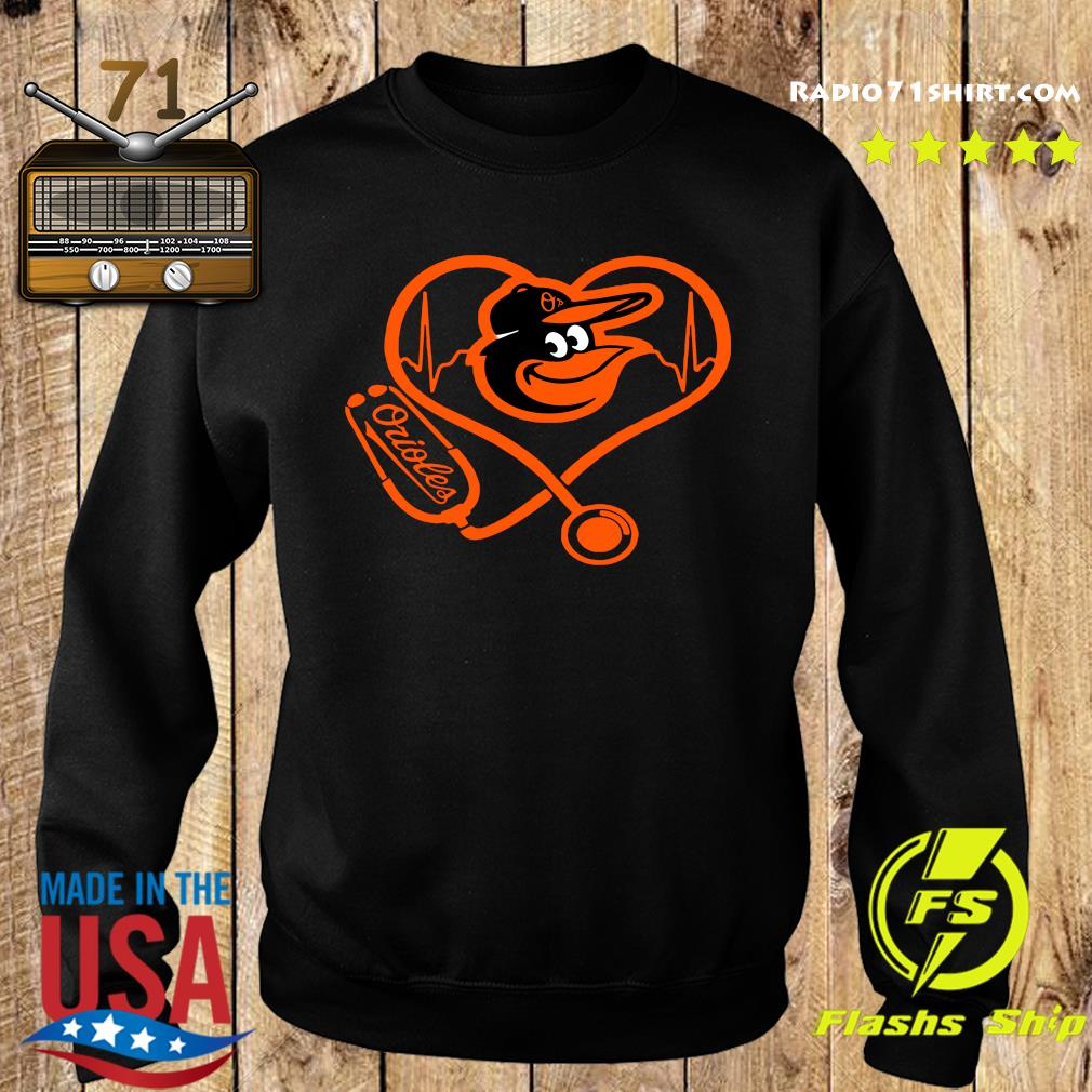 Baltimore Orioles Baseball Stethoscope Heartbeat Shirt Sweater