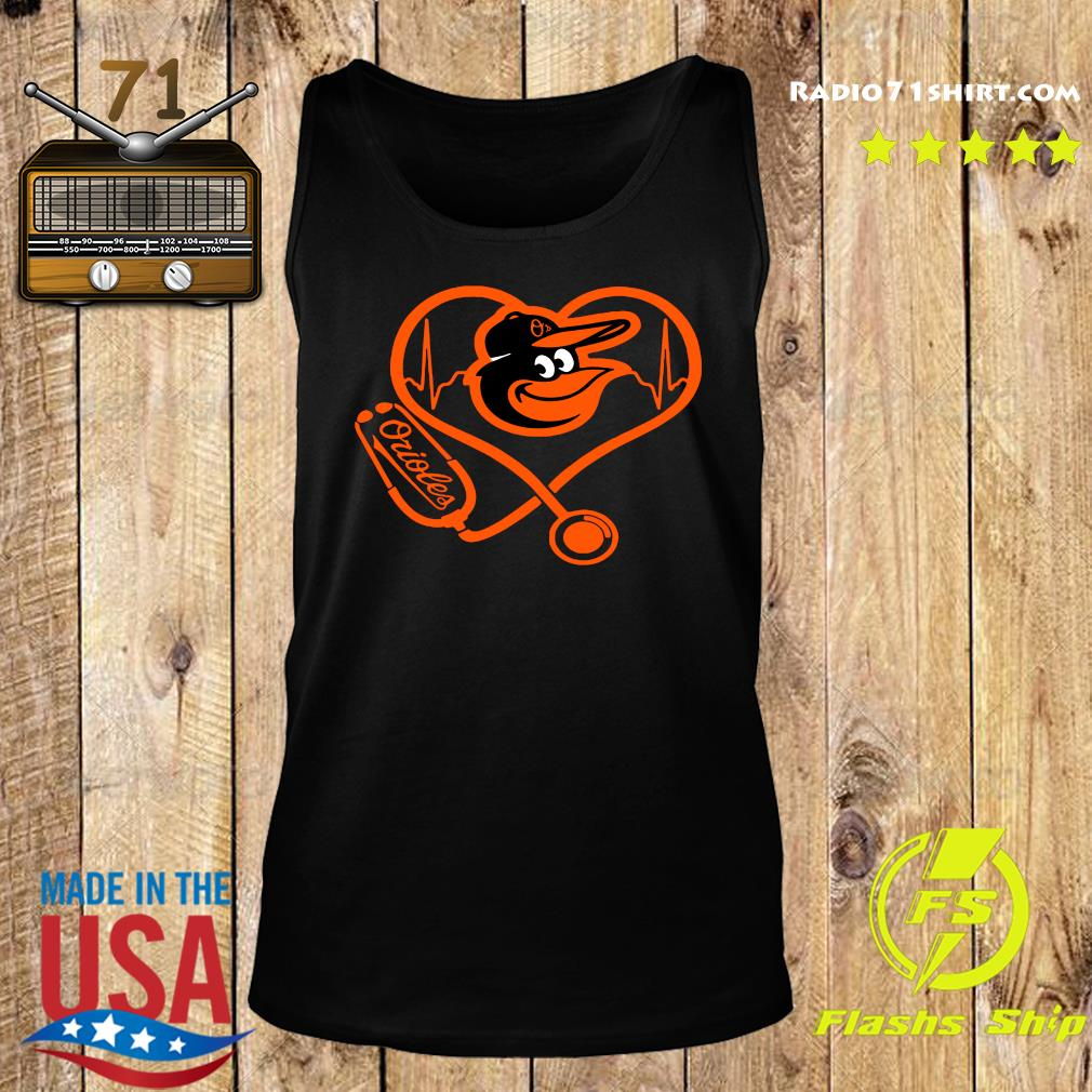 Baltimore Orioles Baseball Stethoscope Heartbeat Shirt Tank top