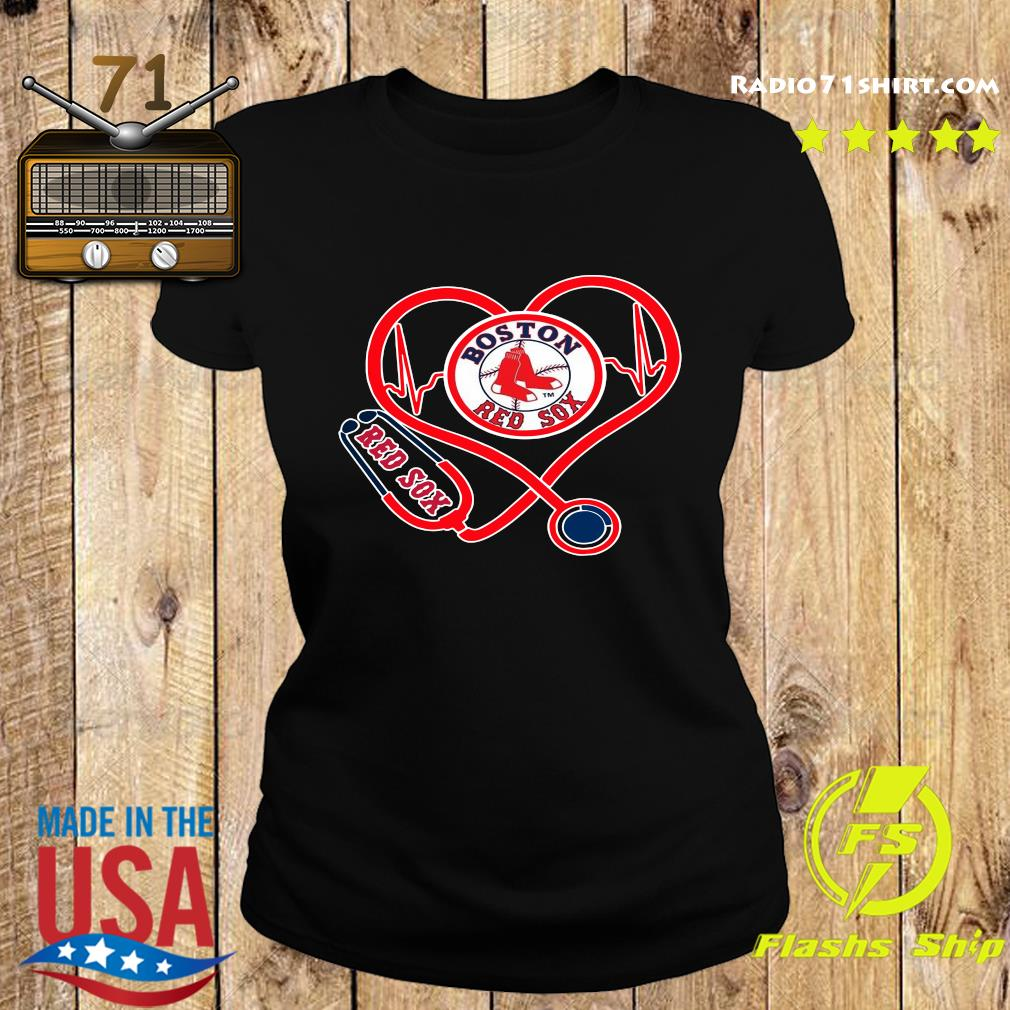 Boston Red Sox Stethoscope Heart Shirt Ladies tee